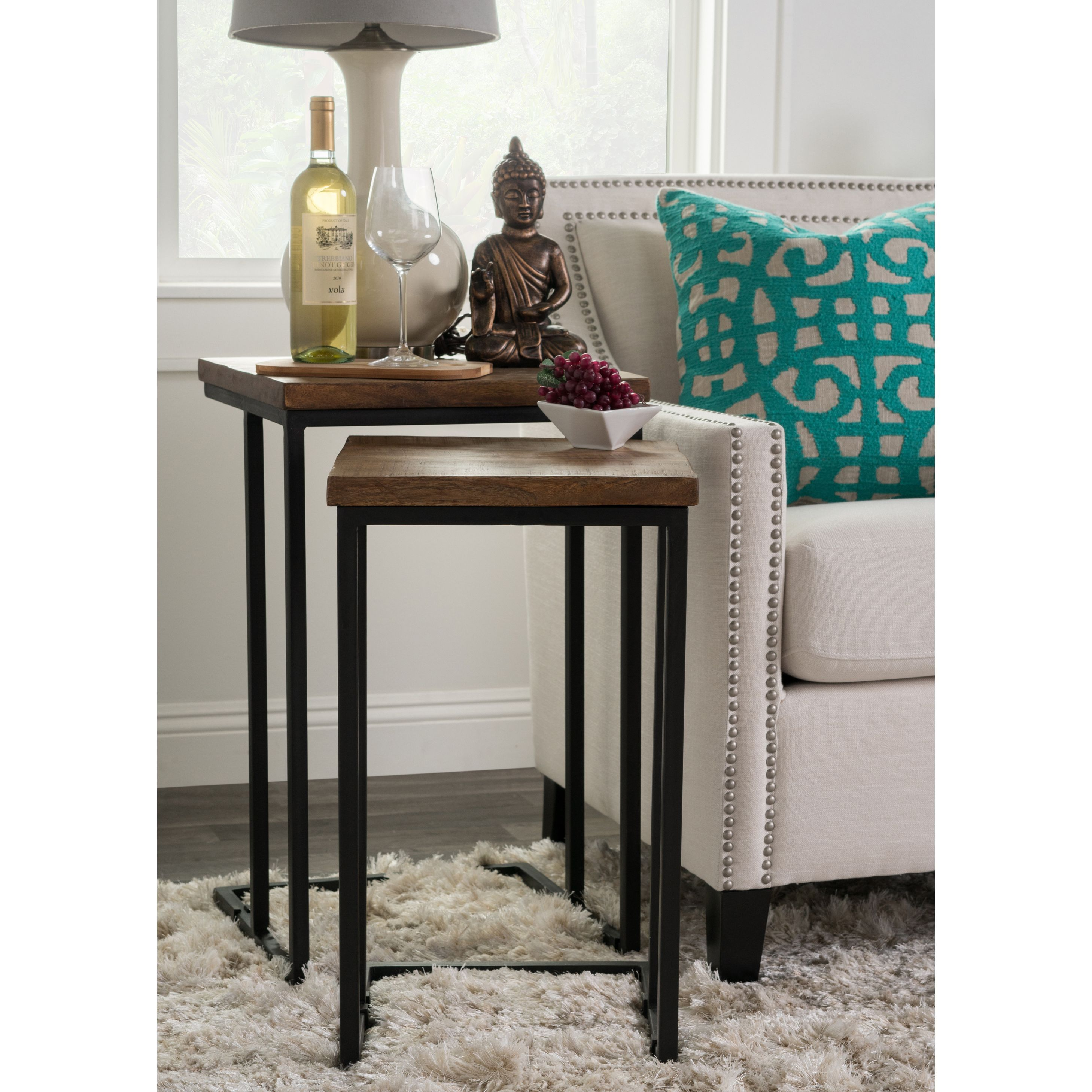 Lynda natural wood and iron nesting tables by kosas home mahogany