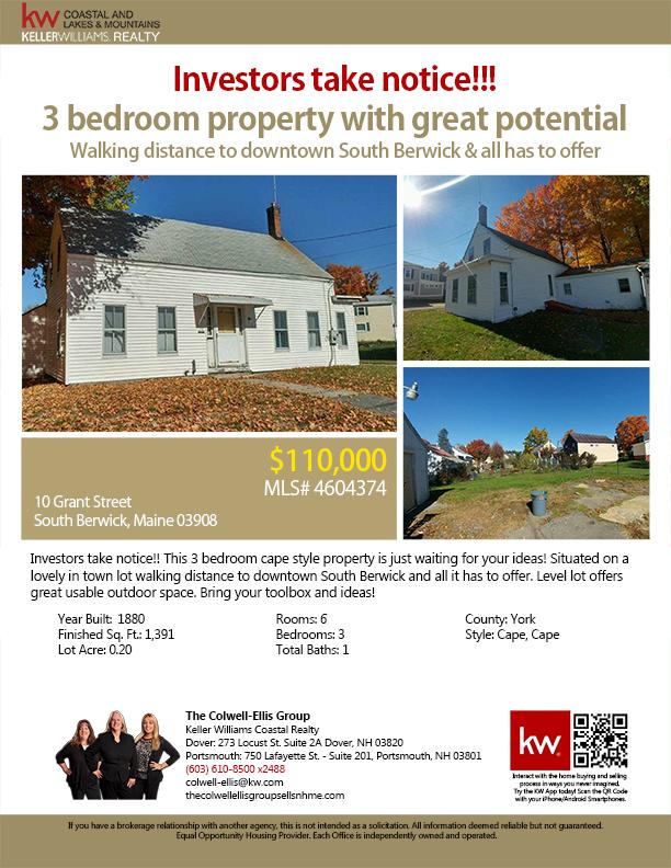 10 Grant Street South Berwick Maine 03908 Mls 4604374 3br 1ba Cape 110 000 Investors Take Notice This 3 Bedroom Cap Coastal Berwick Realty