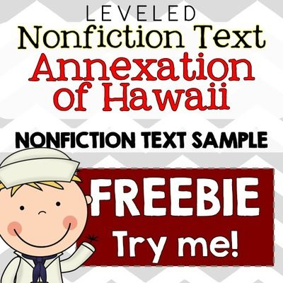 FREE Annexation of Hawaii Common Core Nonfiction Leveled Reading Passages from The Sweetest Thing on TeachersNotebook.com -  (20 pages)  - Trying to integrate Social Studies with ELA? This text set is perfect for use within the Social Studies context or integrated into ELA during guided reading groups! Common Core questions included!