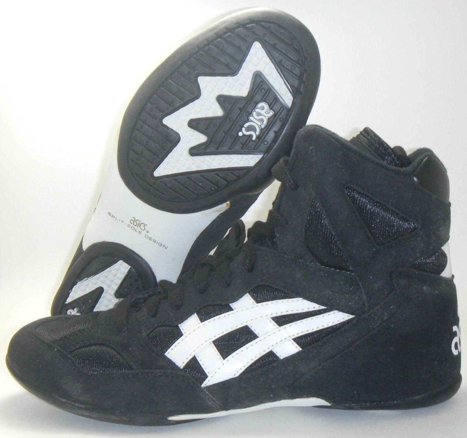 16e480ab0bdf Vintage asics split second 3 wrestling shoes size 8 black white ...