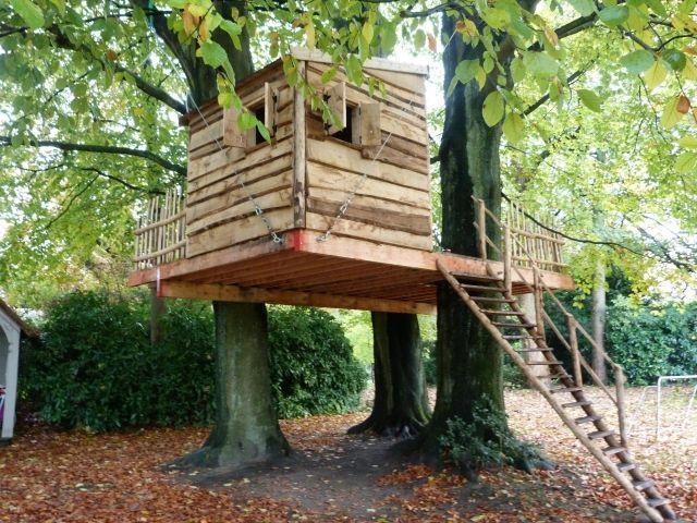 Baumhaus Kinder Garten Plattform Fenster Leiter Spielplatz
