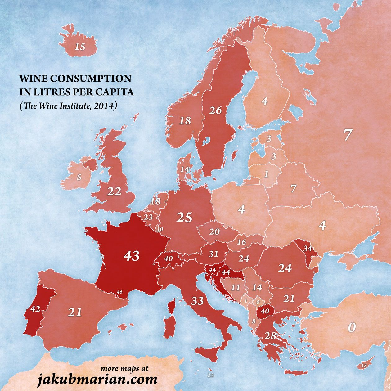Wine Consumption In Europe By Country Per Year Per Capita Learn French Map Secondary Education