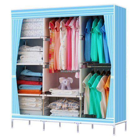 """68/"""" Portable Closet Storage Shelves Colthes Fabric Wardrobe Organizer Rack Shelf"""