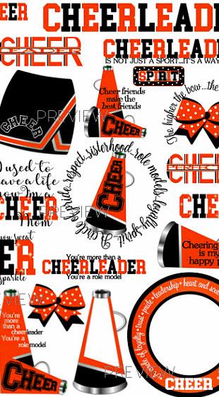 Cheerleader orange. Instant download clip