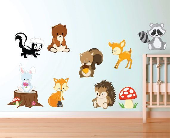 Woodland Animal Decals   Forest Animal Fabric Decals   Woodland Animal Wall  Decals   Kids Wall Decals   Re Useable