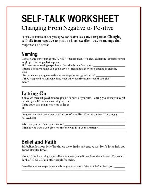The Worry Bag: Self-Talk Worksheet - the healing path with children ...