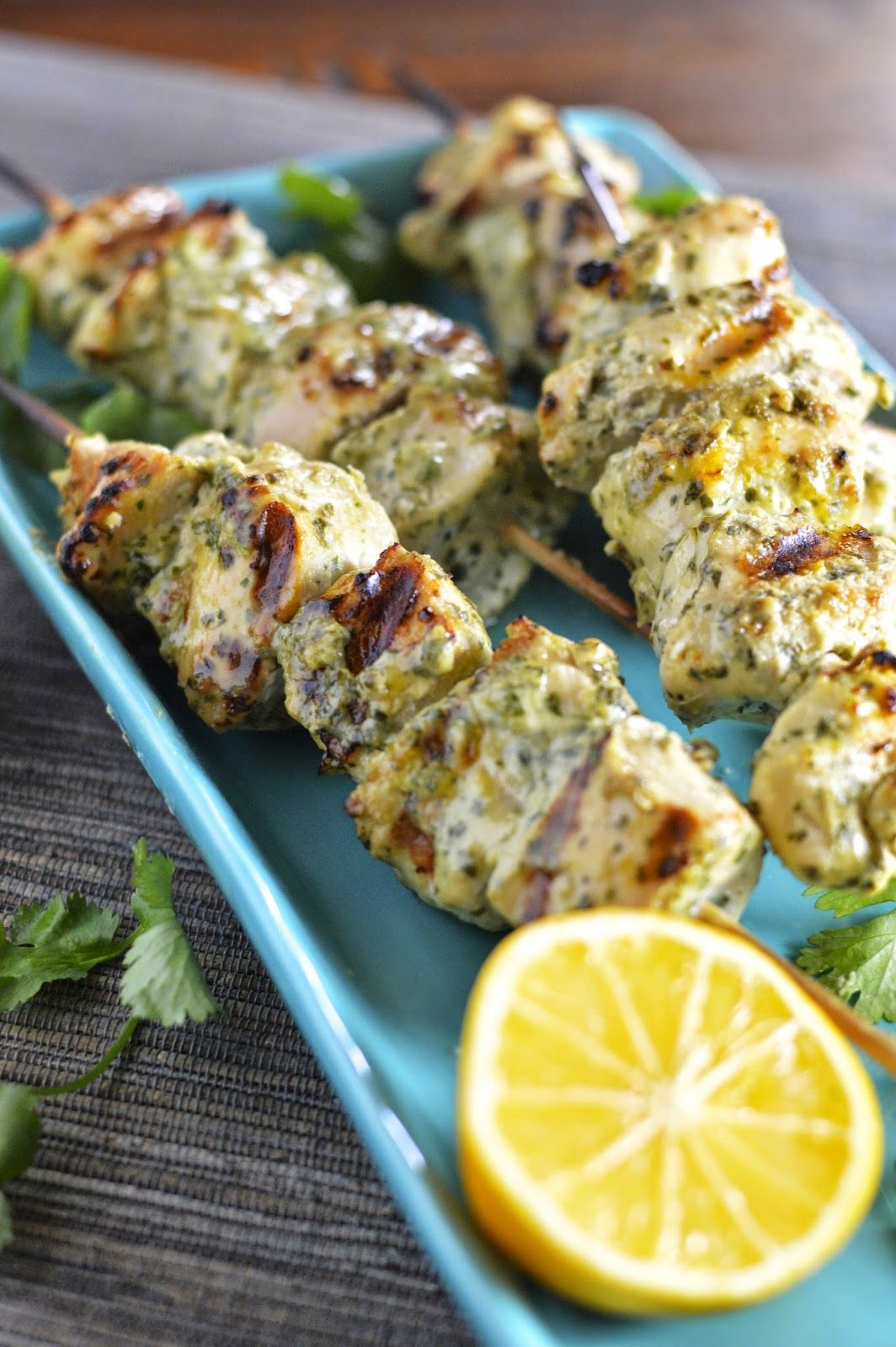 Grilled Chicken Kebabs with Green Tahini Sauce Chicken