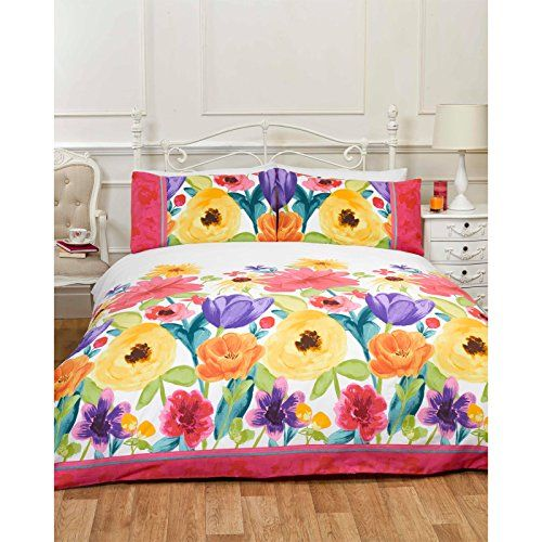 Spring Flower Duvet Cover Hand Painted Floral Effect Bedding In Bright Colour Multi Coloured Yellow Ora King Quilt Sets Duvet Cover Sets Floral Duvet Cover