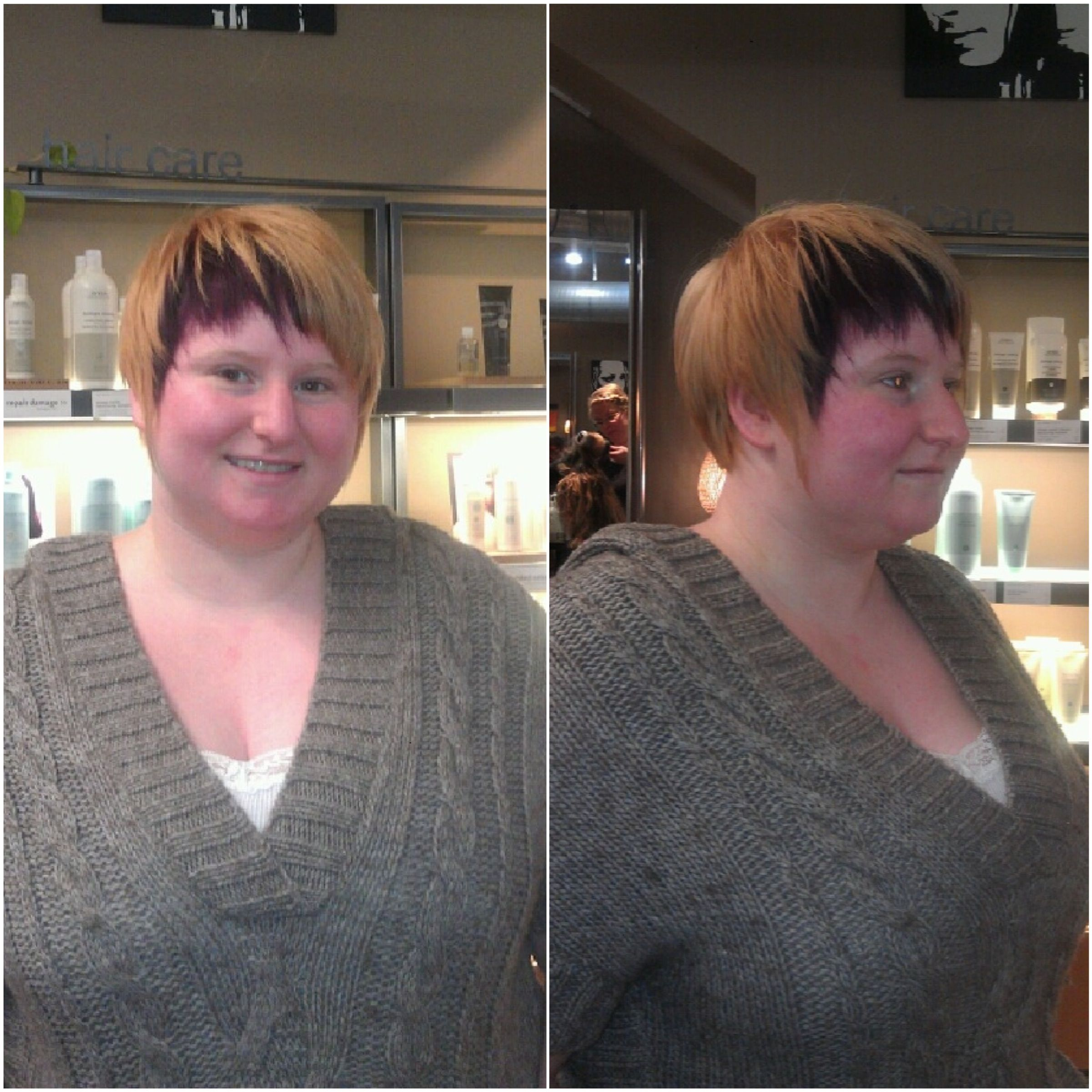 Senior Stylist Sunshine took Marla's hair to a soft strawberry blonde with  a fun pop of purple! This was the first time Marla had her hair colored.