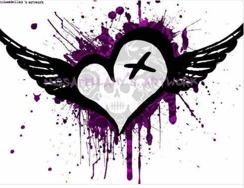Goth Heart & Wings | Heart wallpaper, Heart drawing, Heart ...