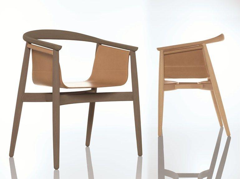 Sedie In Legno Con Braccioli : Sedia in legno con braccioli pelle by zeitraum design lorenz kaz