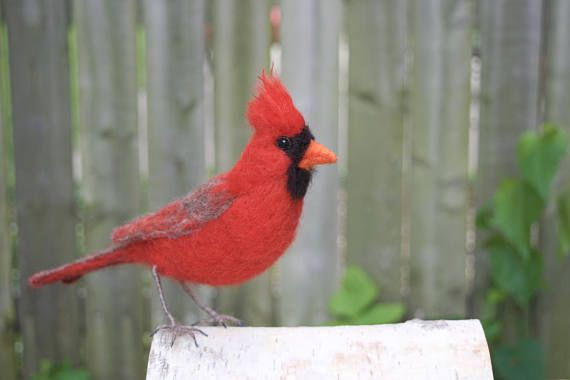 Male and Female Cardinal Red Cardinal Nature Wedding gift for Mom Gift to remember Needle felted bird Sculpture merino red wool decor Mother