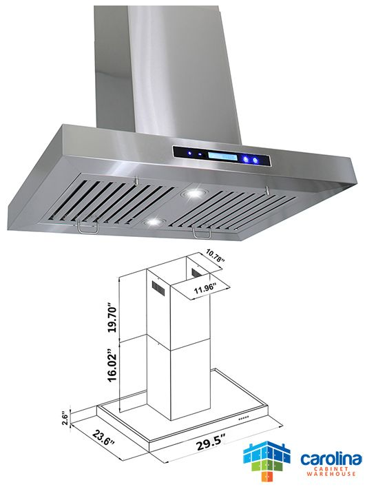 30 Island Range Hood Minimum Required Ceiling Height 8 Feet Chimney Extension No Duct Size Rounded 6 In Range Hoods Best Range Hoods Island Range Hood