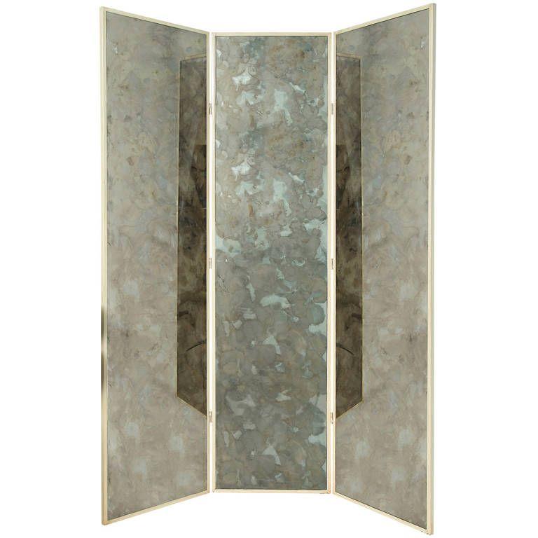 Three Panel Smoked Mirror Folding Screen 1 Mirrored Furniture Folding Screen Screen Mirroring