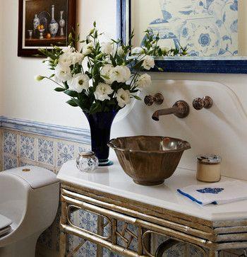 blue & white bathroom | decor, powder room decor, interior