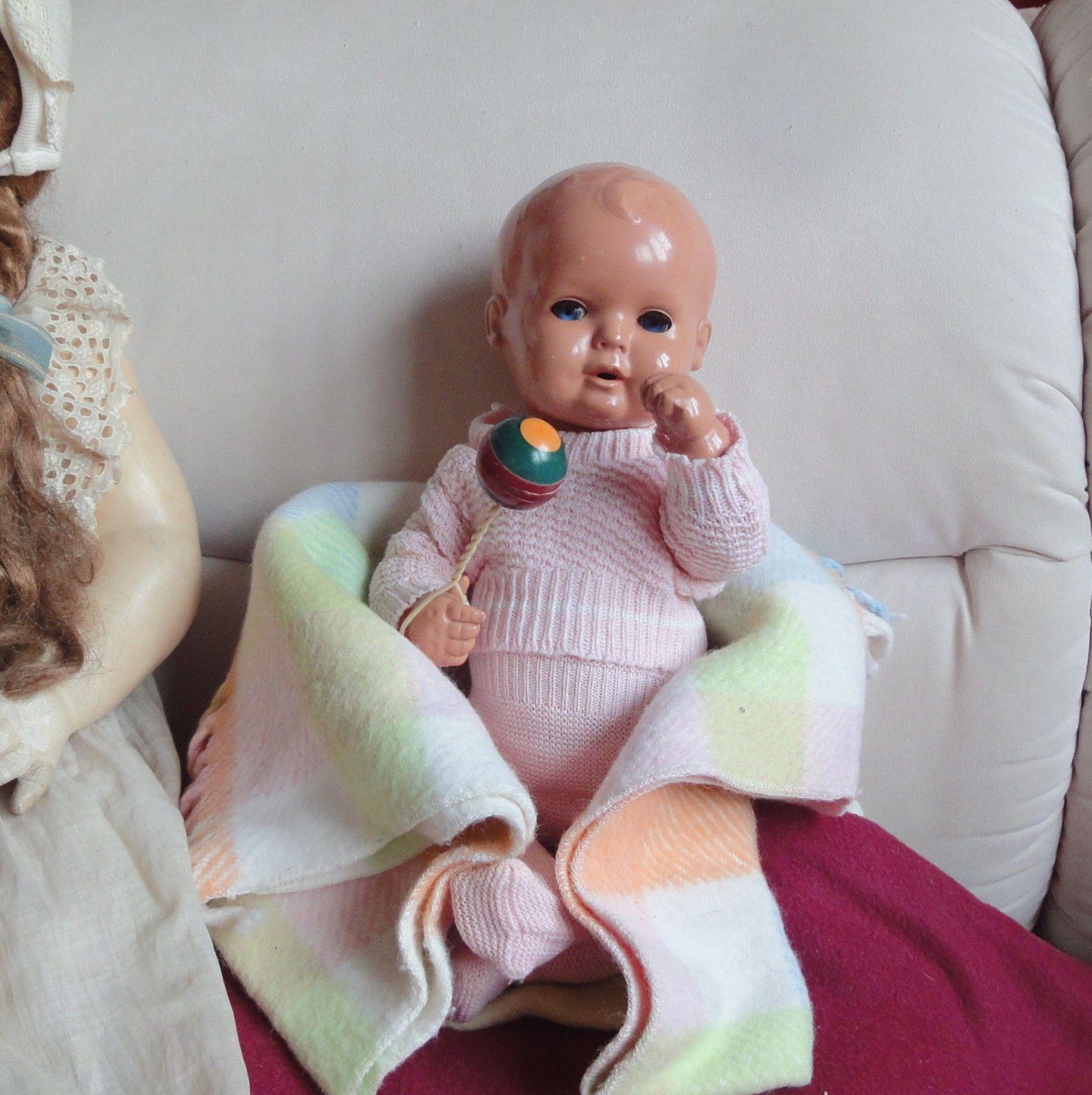 Schildkröt Baby Strampelchen 35cm Celluloid um 1950 alte Kleidung