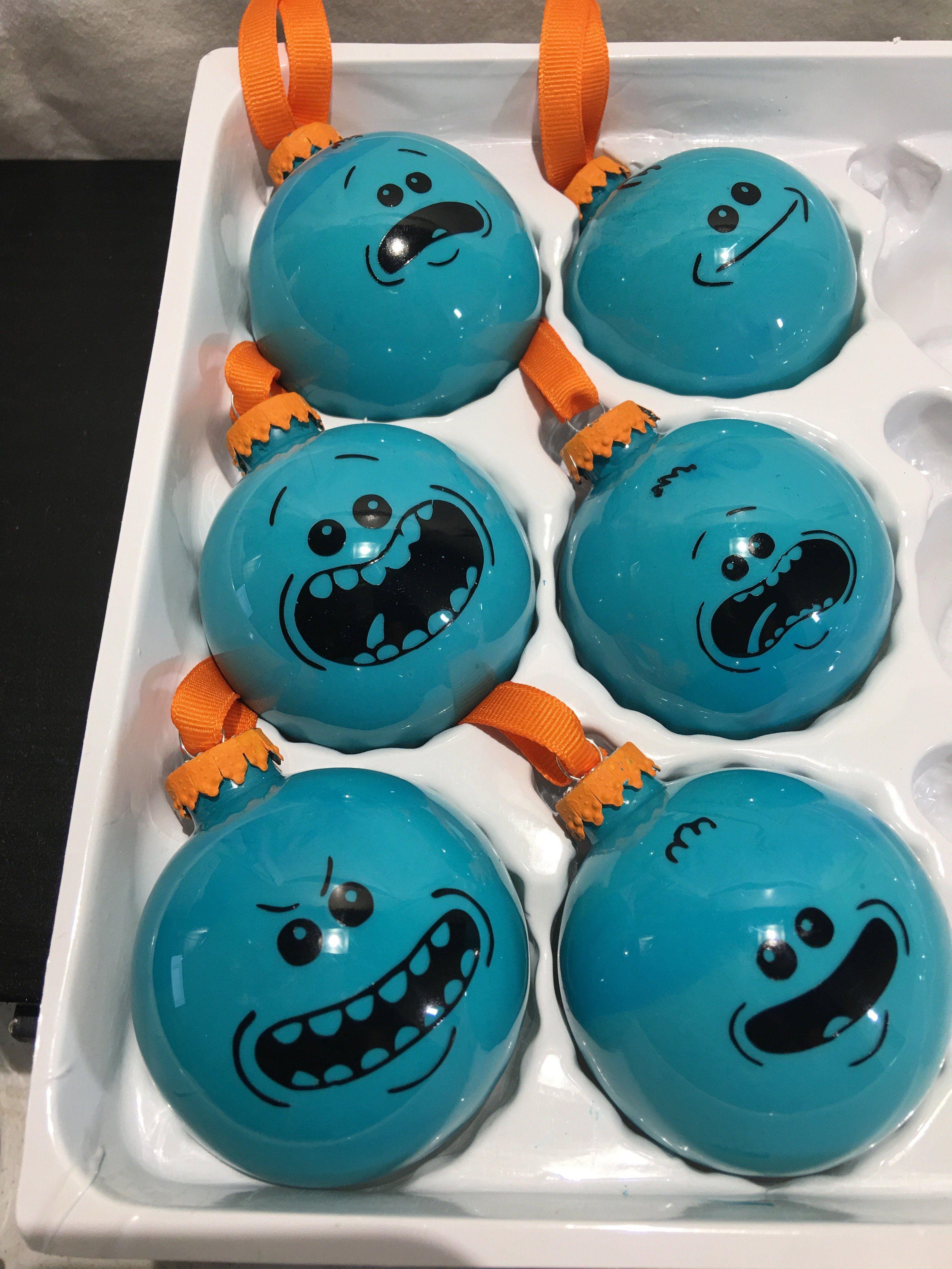 Rick And Morty Christmas Ornaments.Rick And Morty Mr Meeseeks Hand Made Glass Ball Christmas