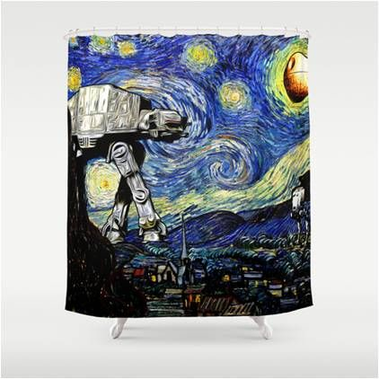 At At Takes A Walk On Starry Night Star Wars Shower Curtain Star