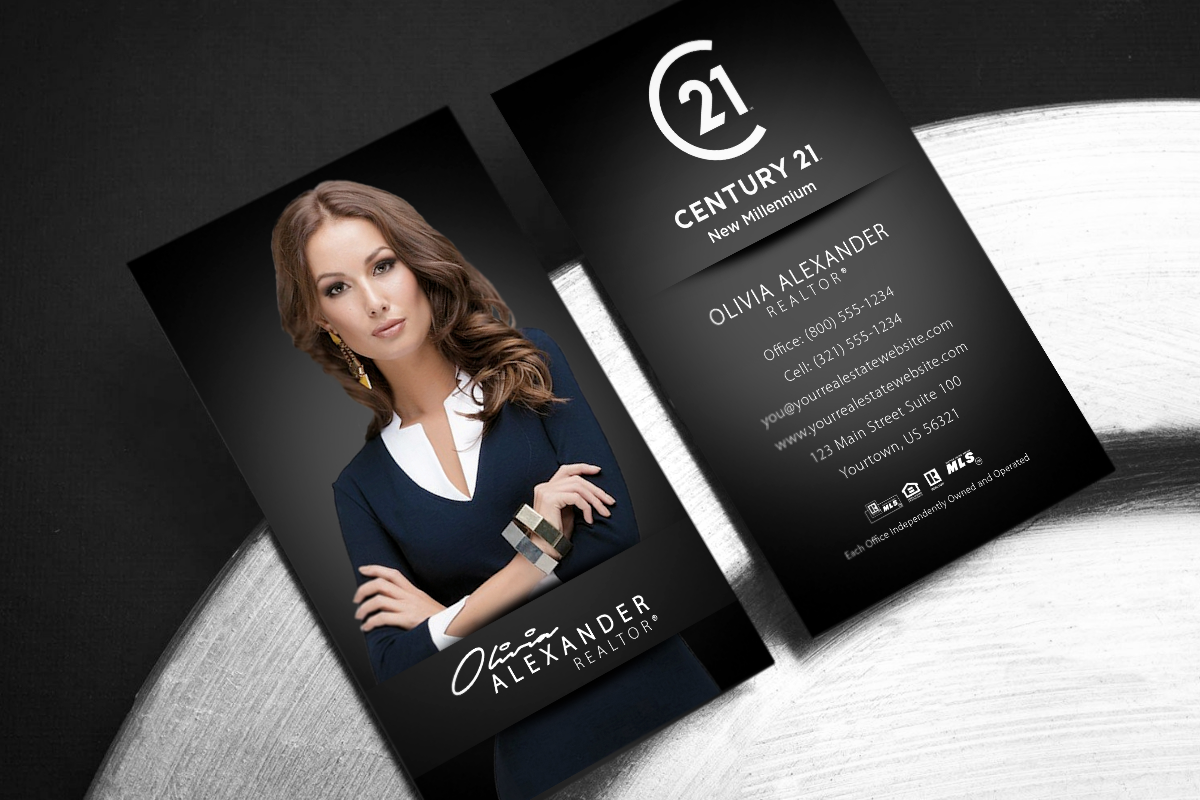 Classy Simple Dark Century 21 Vertical Business Card Realtor Business Cards Photo Real Estate Business Cards Photo Business Cards
