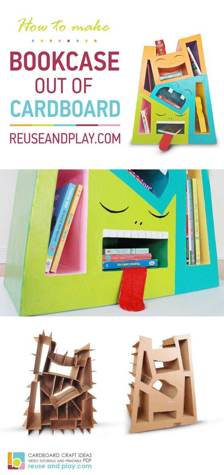 Cardboard bookcase. Kids DIY furnitures out of cardboard -  #bookcase #cardboard #DIY #furnit...