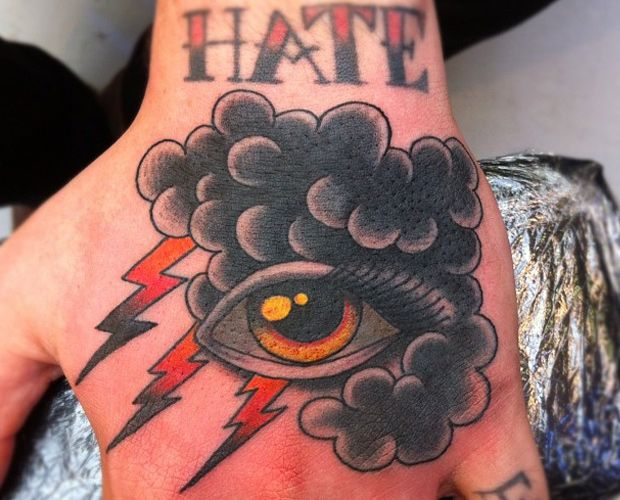 Eye Tattoo Cloud Eye Thunder Lightning Storm Clouds Hand Tattoo