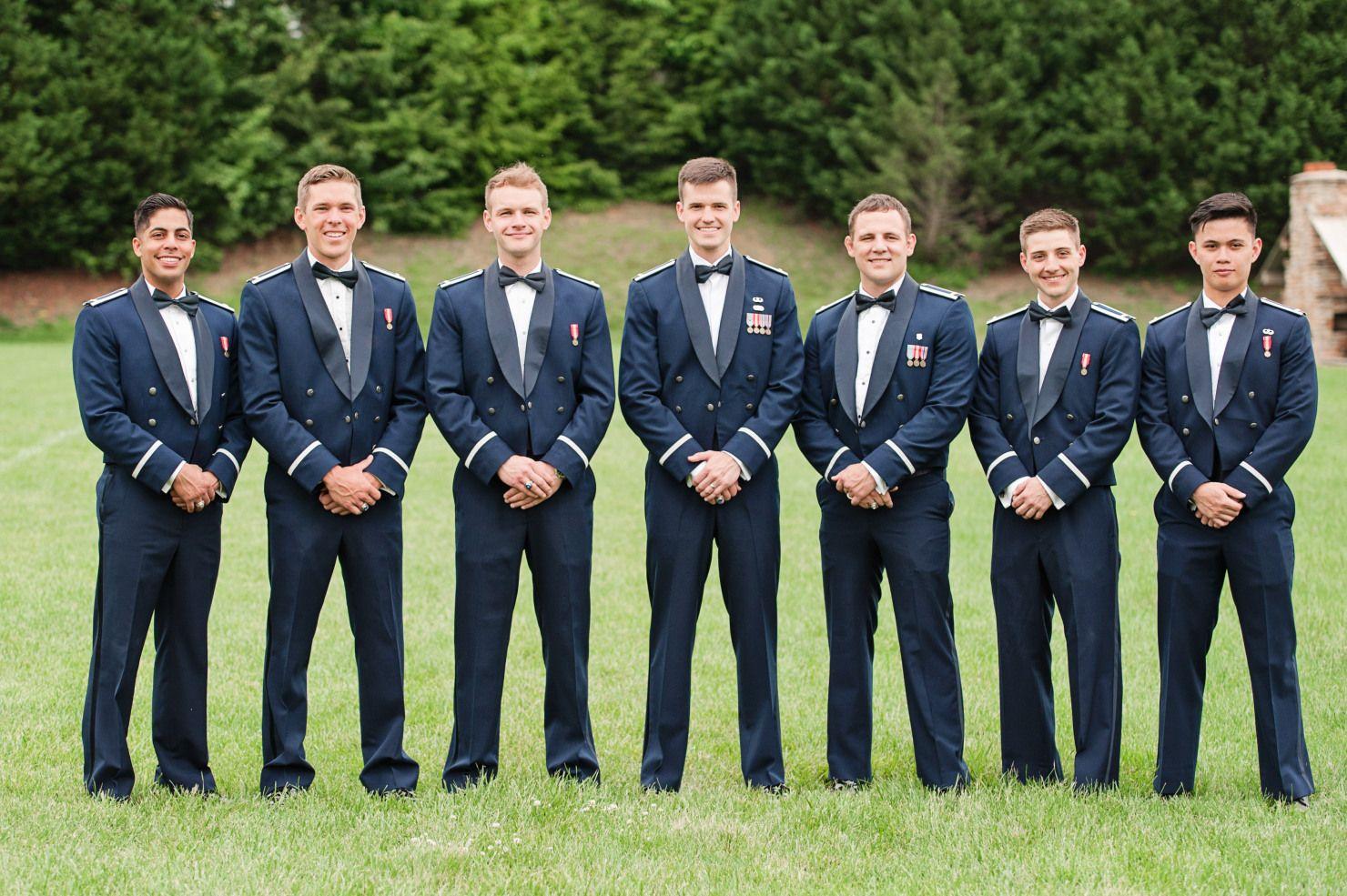 Air Force Groomsmen Pose For Military Wedding In Dress Uniform Air Force Wedding Wedding Party Shirts Military Wedding [ 985 x 1480 Pixel ]