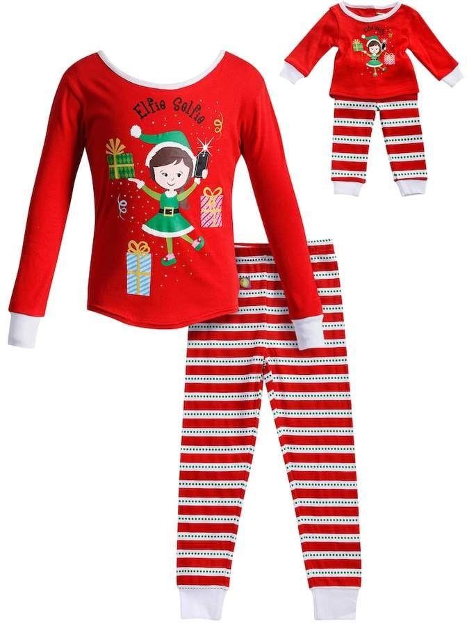 Dollie   Me Girls 4-14 Elfie Selfie Elf Striped Top   Bottoms Pajama Set 140502673