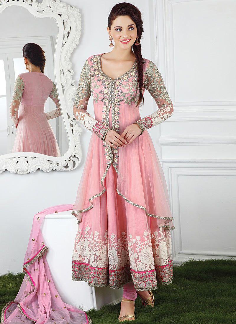 Designer salwar kameez mesmeric peach color net designer suit - Buy Pink Net Layered Anarkali Online From The Wide Collection Of Salwar Kameez This Pink