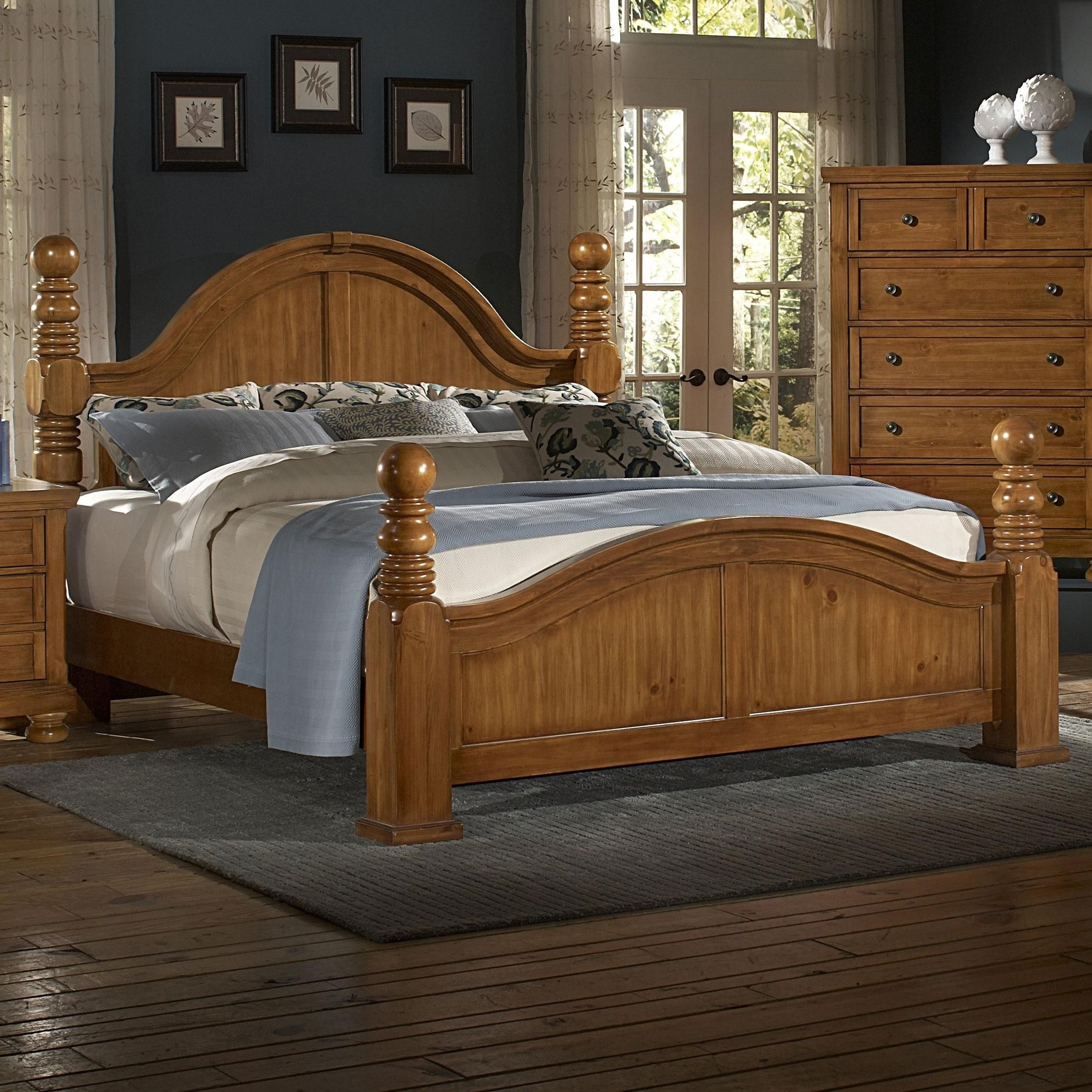 Reflections queen cannonball poster bed by vaughan bassett for Bassett bedroom furniture