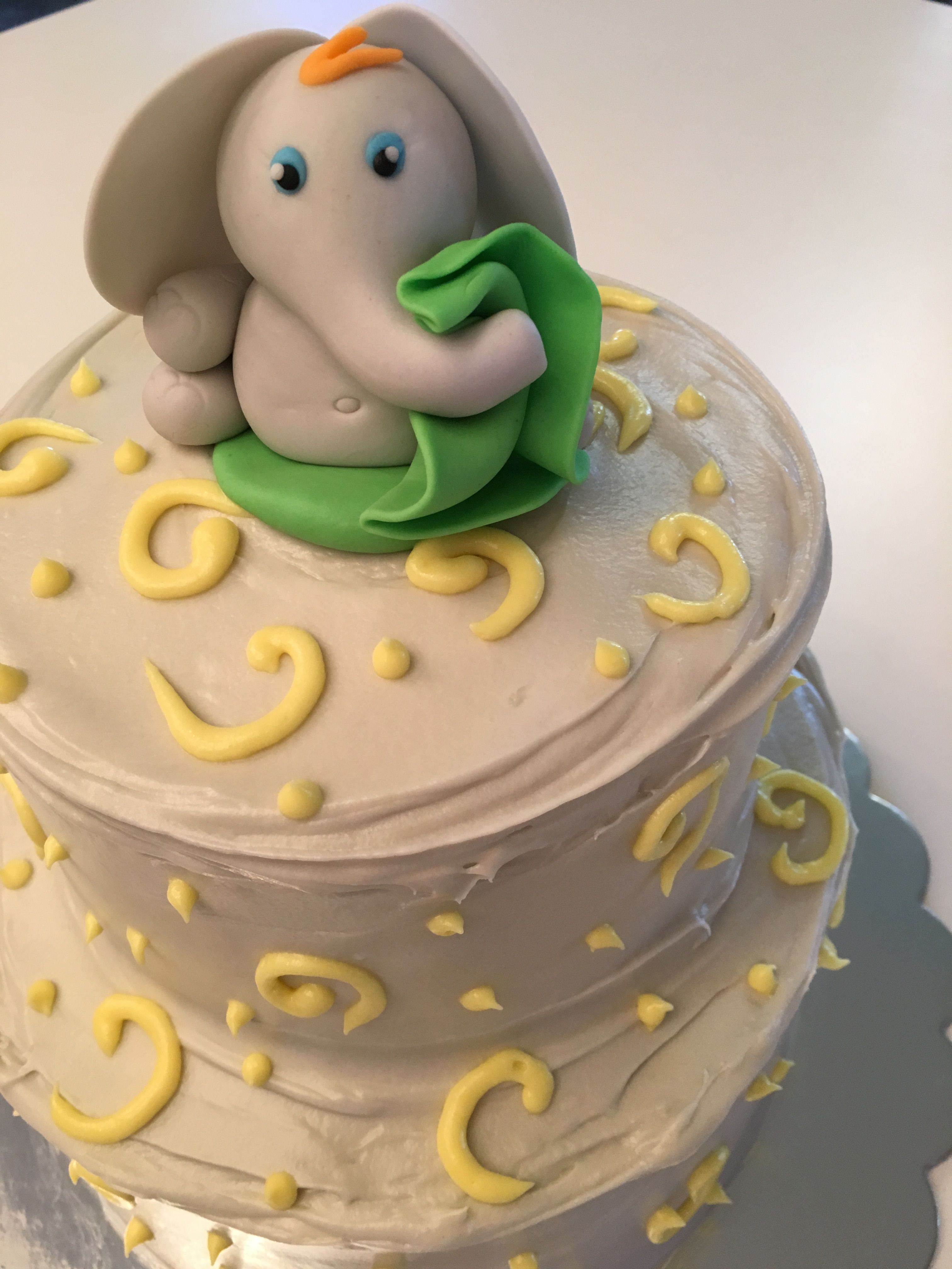 Elephant Baby Shower Cake Gray And Yellow