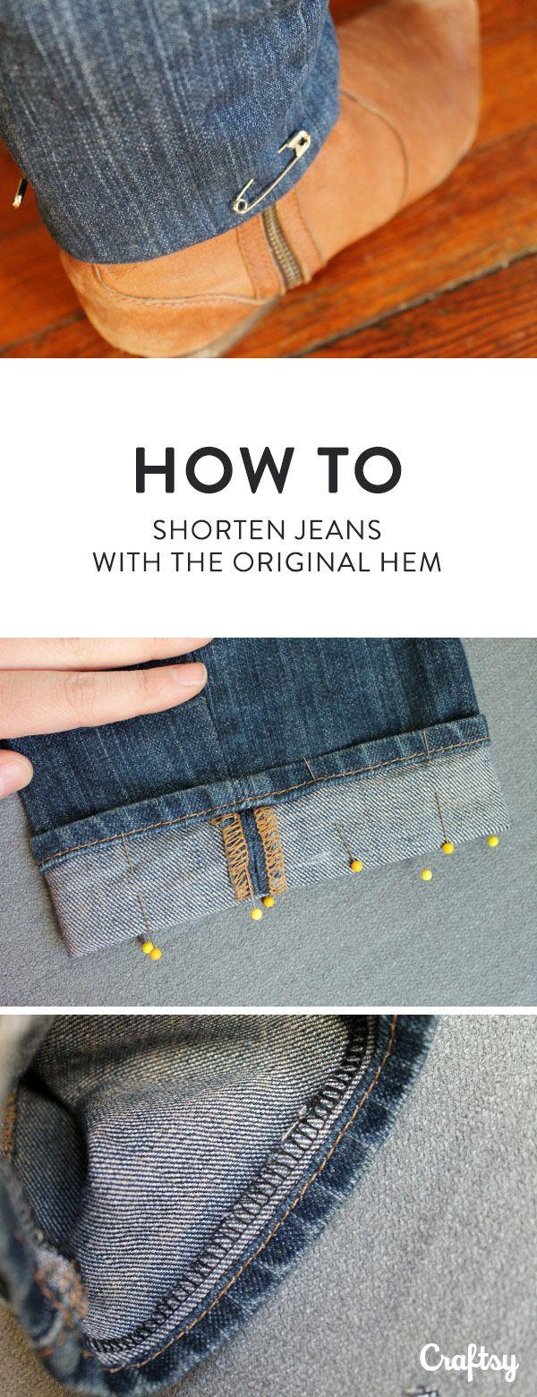 How to Hem/Shorten Jeans (with the Original Hem!) | Nähtipps, Nähen ...