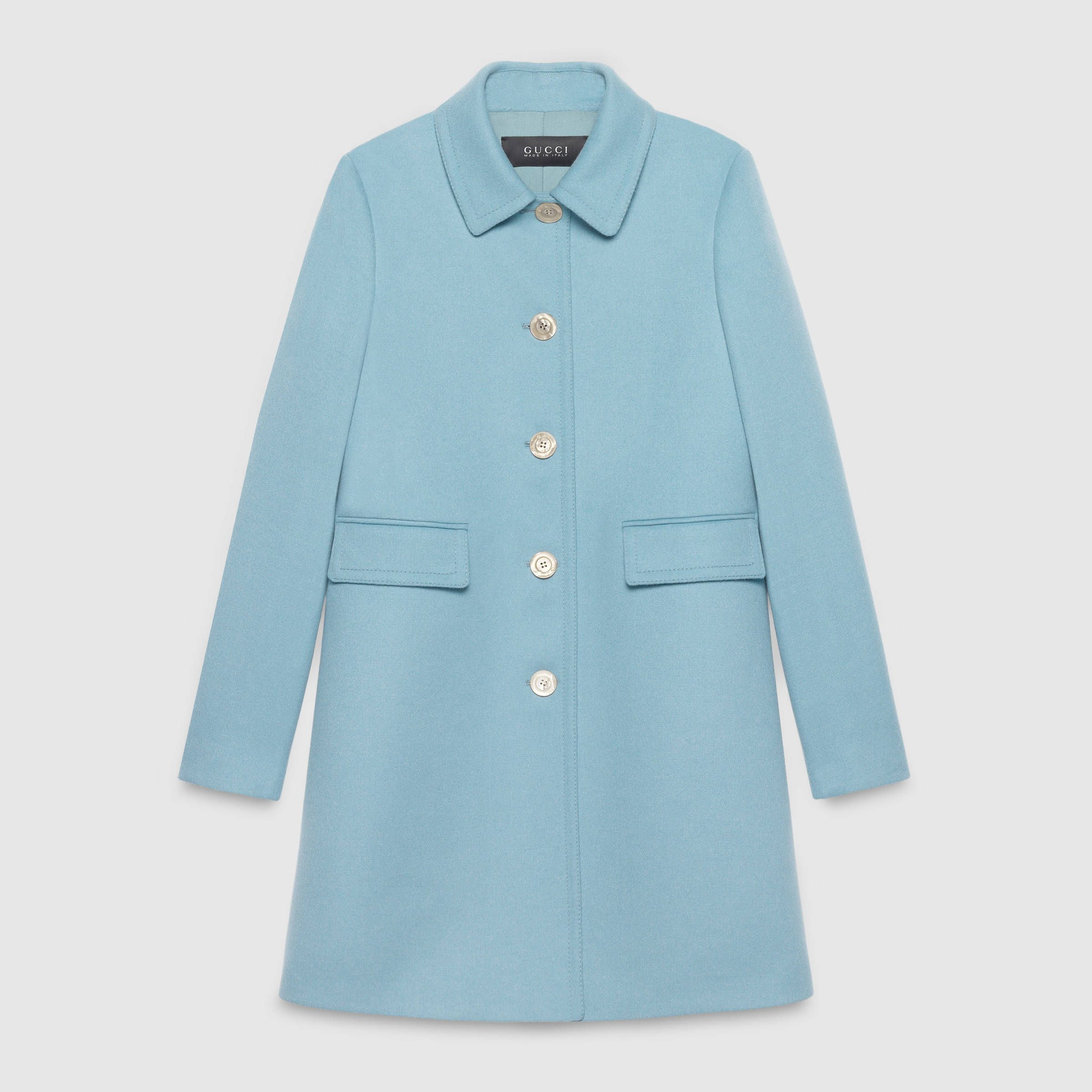 choose official fashion design huge selection of Gucci's light blue single-breasted wool coat (worn by Téa ...