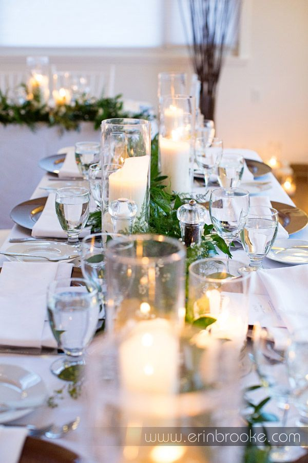 Head Table And Guest Centrepiece Garlands Of Italian Ruscus Plumosa White Wax Flower