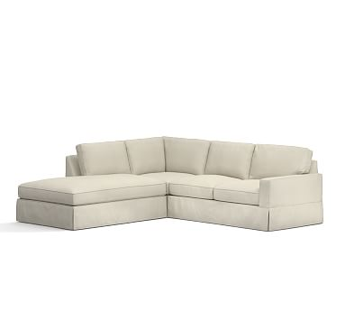 PB Comfort Square Arm Slipcovered Right 3-Piece Bumper Sectional, Box Edge Down Blend Wrapped Cushions, Washed Linen/Cotton Stone