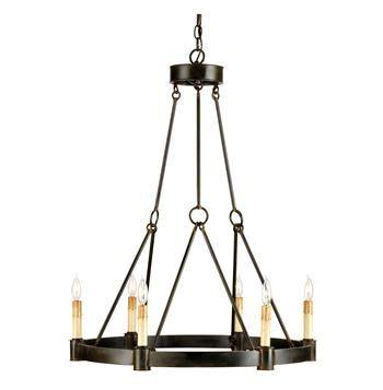 Charmont French Country Black Wrought Iron 6 Light Chandelier