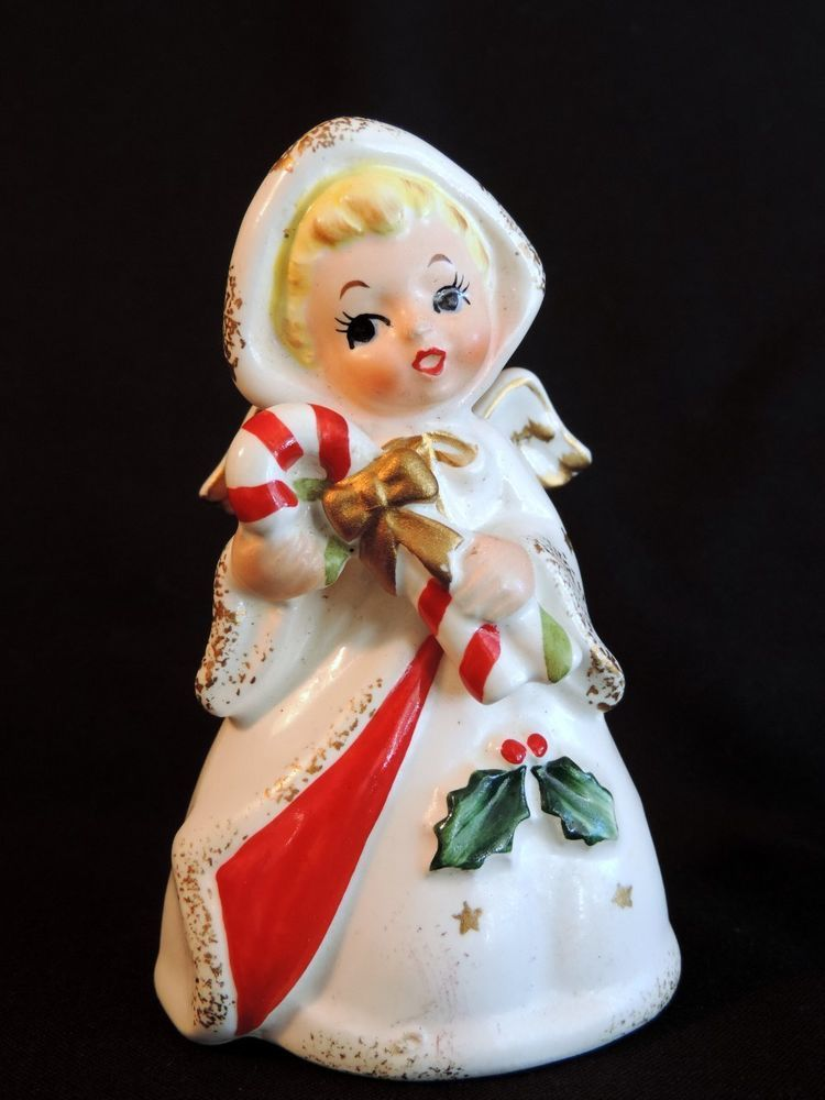 "For your consideration is a Vintage Lefton??? Christmas Winged Angel Figurine Candy Cane Holly Gold Big Eyed.  Pretty face, she measures approx. 4"" tall x 2 1/2"".  Very good used vintage, no issues to note, sticker missing.   Thanks for your interest, questions are welcomed.. 