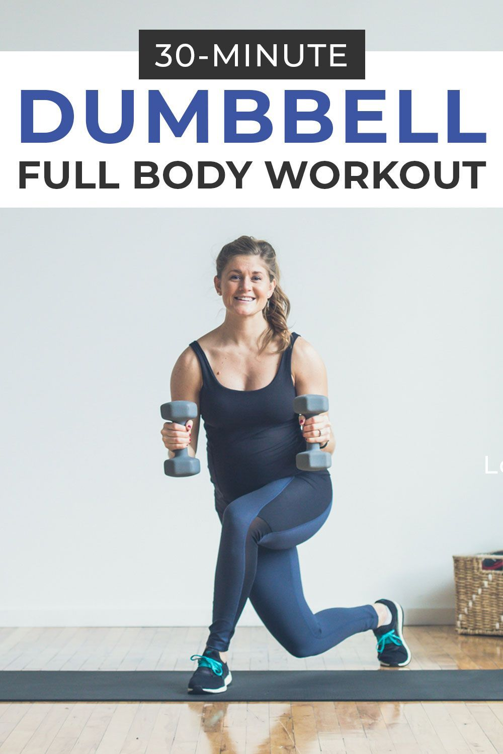 Strength train at home with this 30-minute circuit workout with dumbbells! This full body dumbbell w...