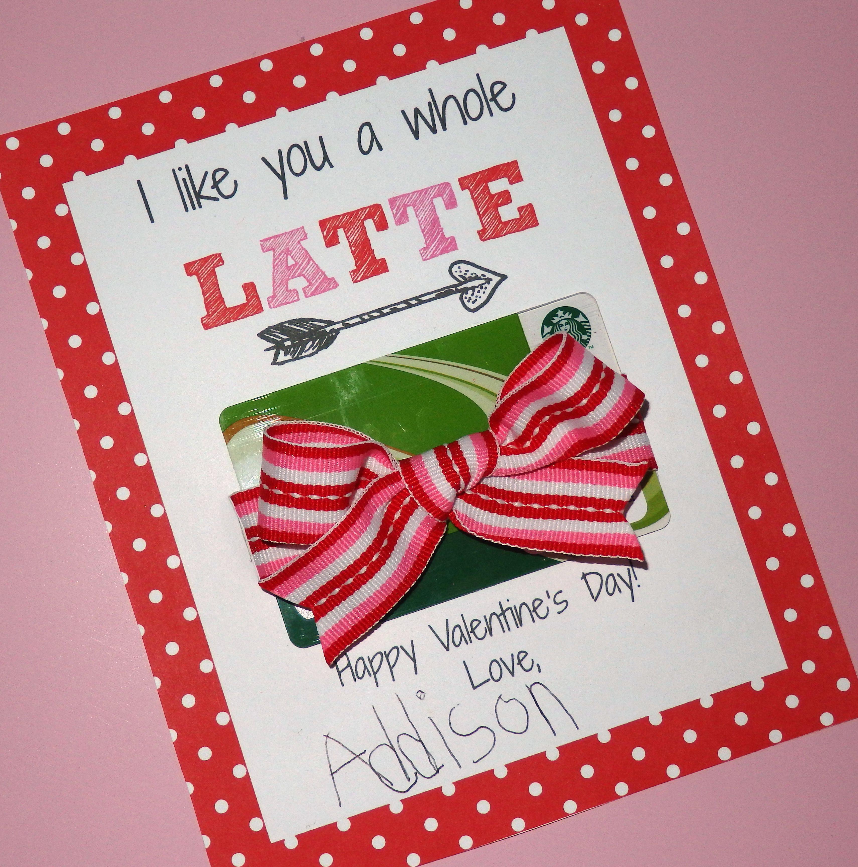 Starbucks Gift Card Teacher Valentine S Day Card Valentines