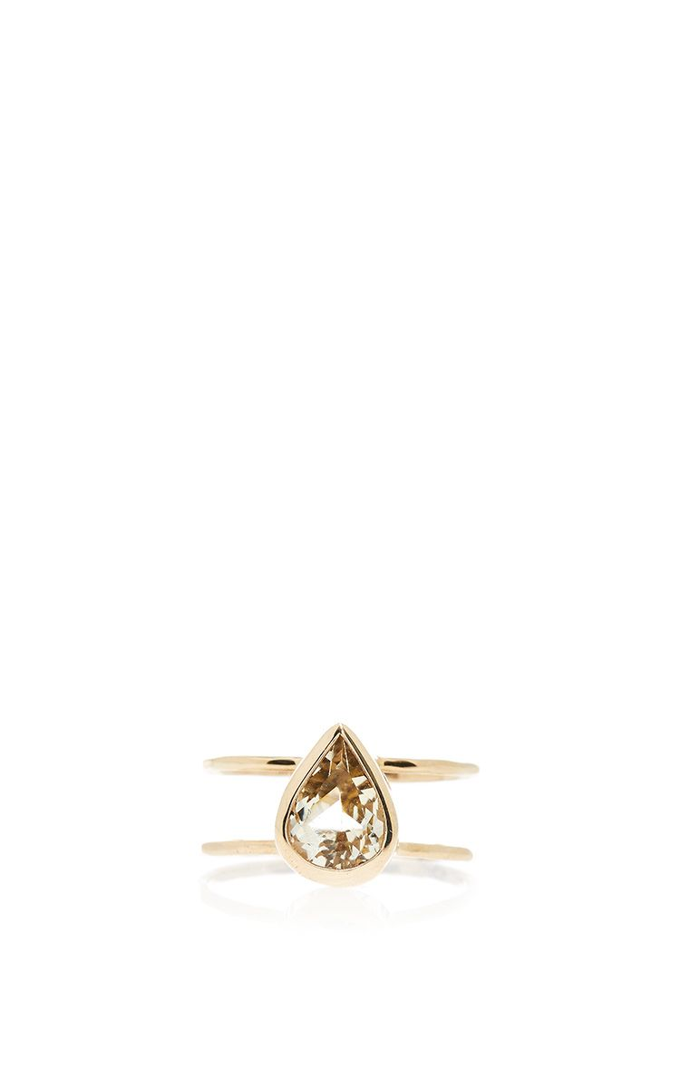 One Of A Kind 14 K Yellow Gold Yellow Beryl Two Band Ring by MELISSA JOY MANNING…