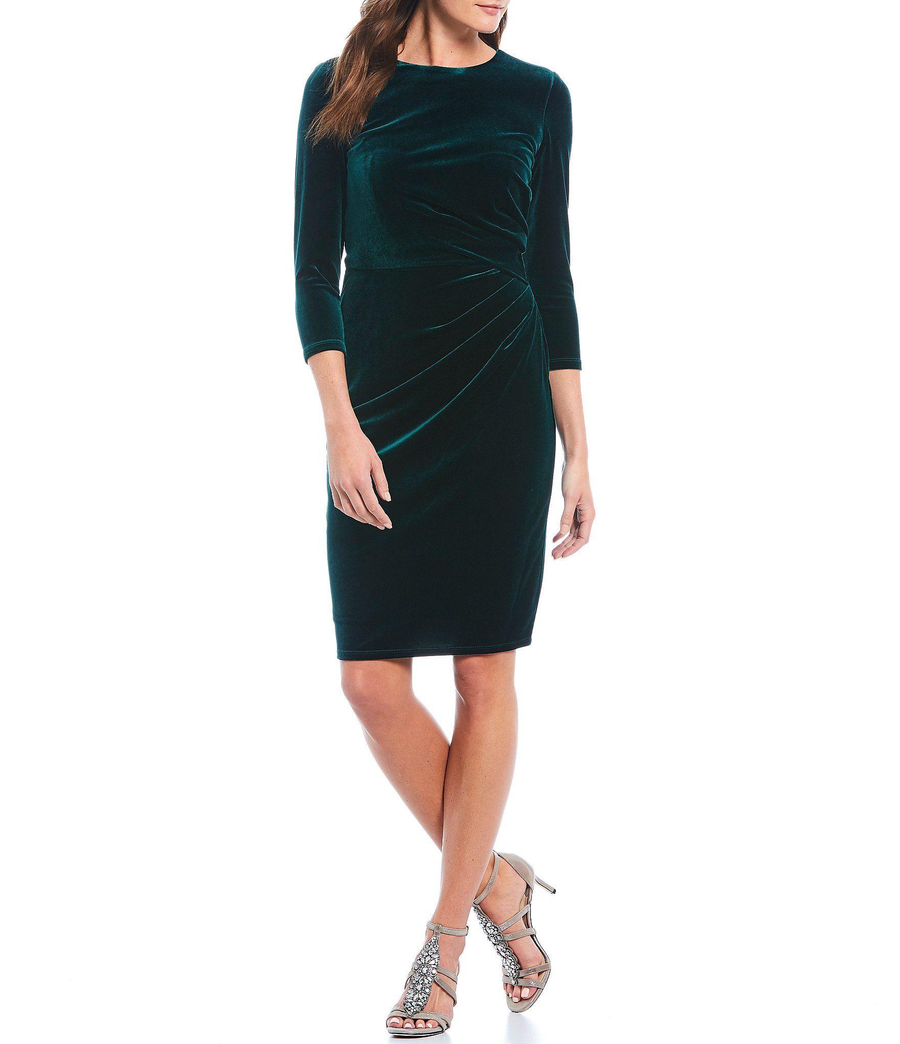 Eliza J Ruched Velvet Sheath Dress Red 12 | Sheath dress