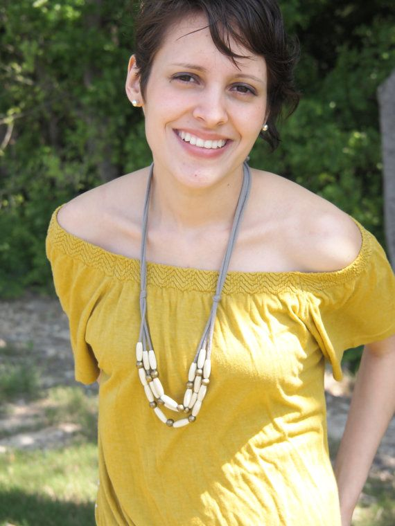 ivory wood rice bib necklace by simplylivly on Etsy, $33.00