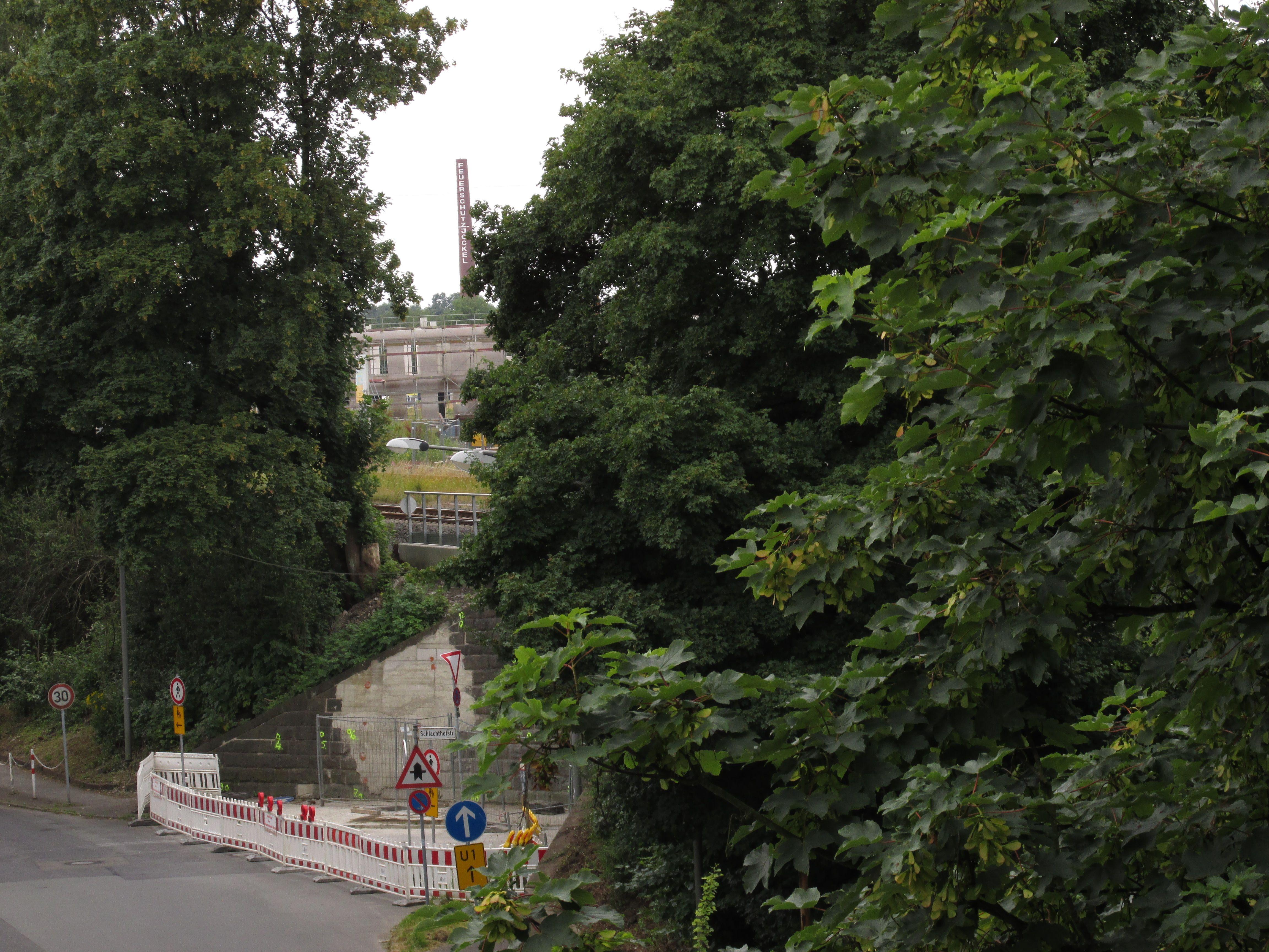 Blick durch die Bäume auf den Bahnhof