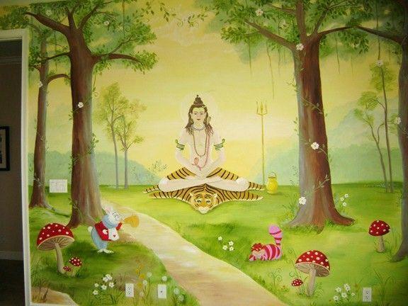 Hindu Gods Meet Alice In Wonderland Nursery Mural