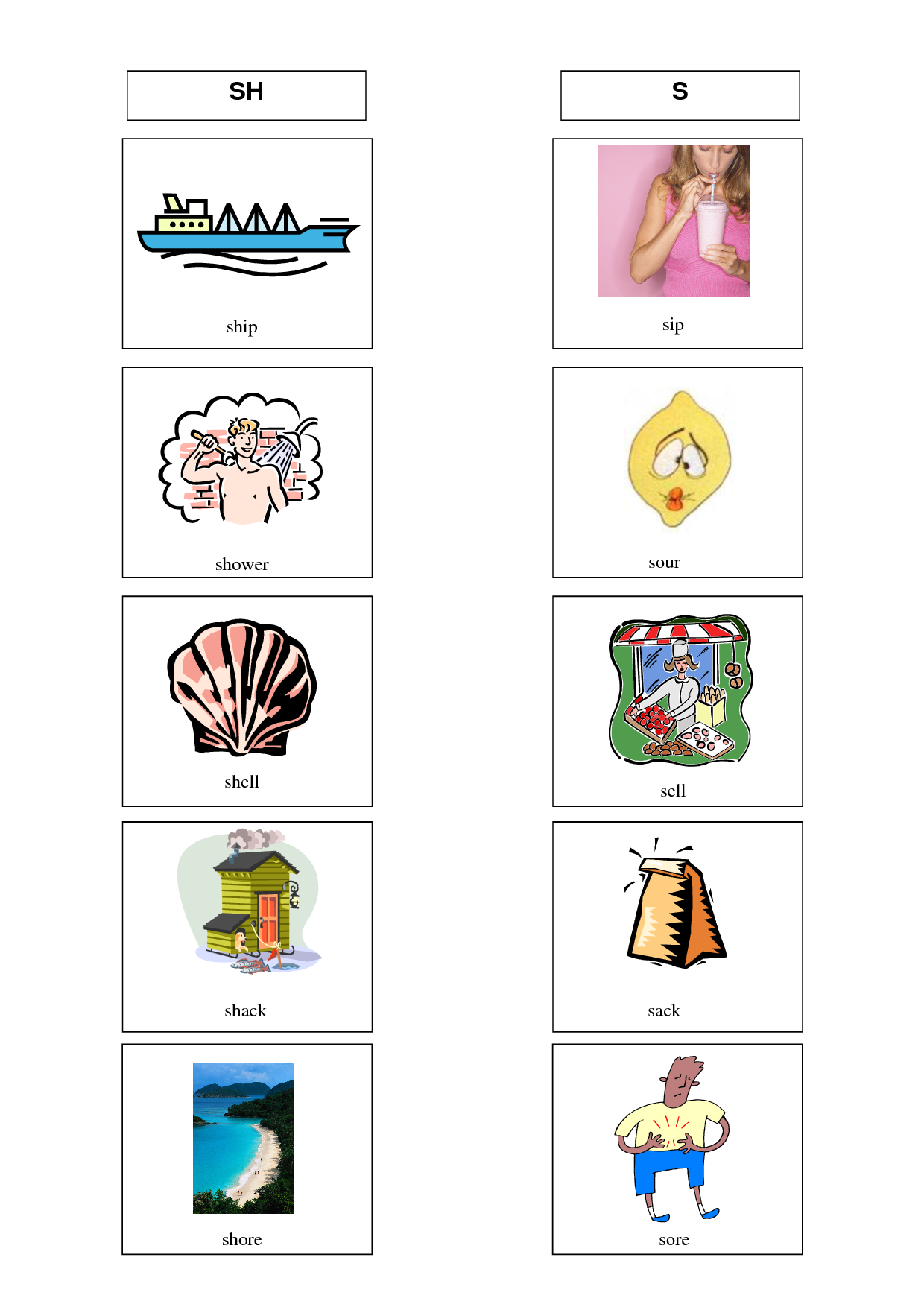 Image Result For S Sh Minimal Pairs