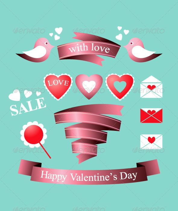 Valentine S Day Elements Fonts Logos Icons Pinterest