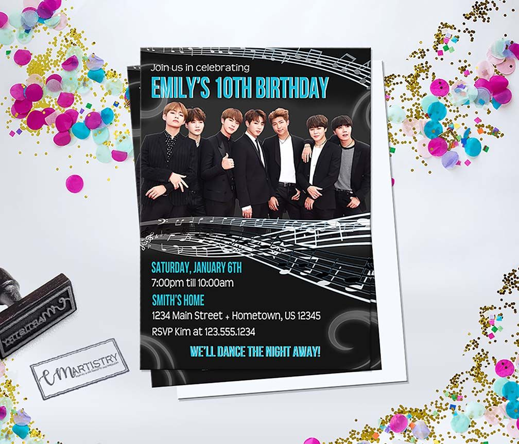 Personalized BTS K-Pop Birthday Invitation *Need Party Invitations ...
