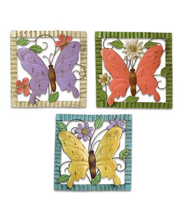 Take a look at this Butterfly Wall Art - Set of Three by Melrose on #zulily today! think spring everyone!!!!