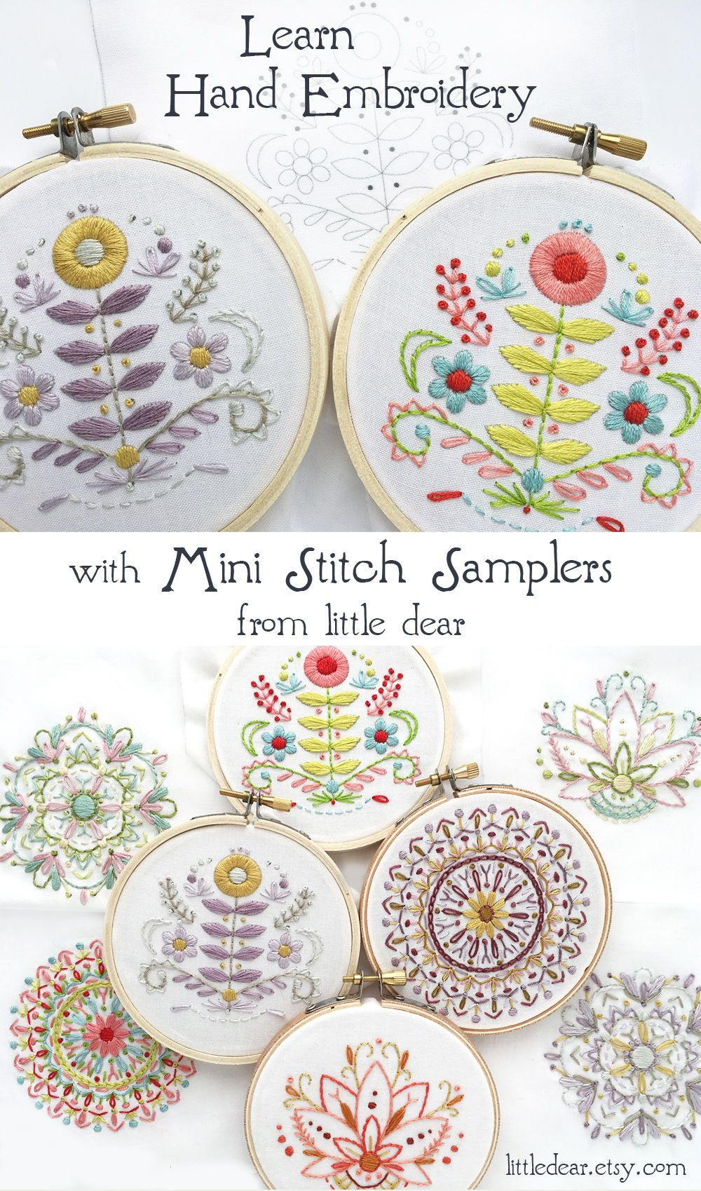 Learn hand embroidery with these beautiful mini samplers from little dear! Choose your favorite colors and create your own unique hoop art. #embroiderypatternsbeginner