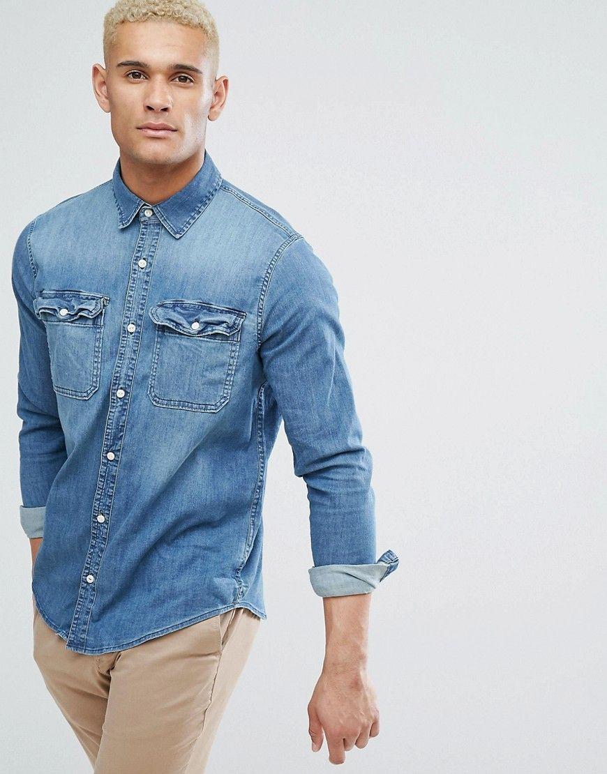 025411a5f8 Hollister Stretch Slim Fit Denim Shirt in Mid Wash Denim - Blue  Shirt by  Hollister