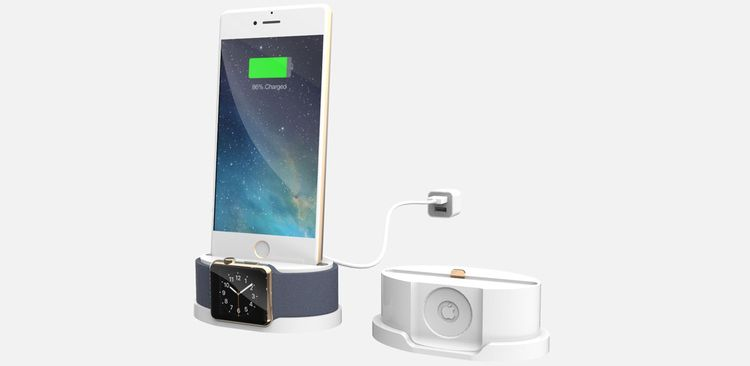 Single corded charging dock allows either item to be removed without disturbing the other and reduces cable clutter.